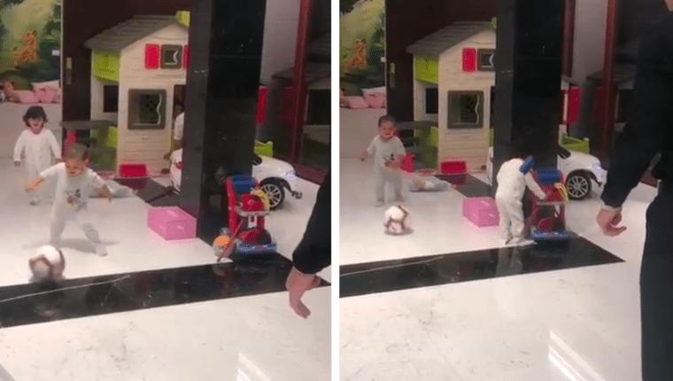 En el video que subió Cristiano Ronaldo en su cuenta de instagram aparece con sus hijos Mateo, con quien juega  futbol y Eva, que solamente mira su hermano y a su papá jugar. (Foto Prensa Libre: @Instagram)