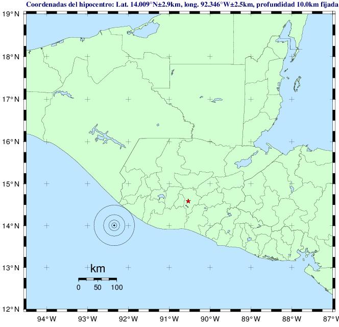 El sismo fue sensible en el suroccidente del país. (Foto Prensa Libre: Insivumeh)