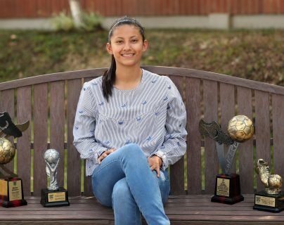 Andrea Álvarez, goleadora de Comunicaciones. (Foto Prensa Libre: Jeniffer Gómez)