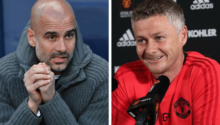 Los entrenadores Josep Guardiola y Ole Gunnar Solskjaer se verán las caras en el derbi de Manchester. (Foto Prensa Libre: AFP y Manchester United)