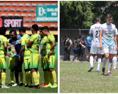 Los equipos de Chiantla y Sanarate pelean por quedarse en la Liga Nacional. (Foto Prensa Libre: Mike Castillo y Luis López)