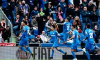 Getafe's Spanish forward Jorge Molina (L) celebrates with teammates after scoring his team's second goal during the Spanish League football match between Getafe and Sevilla at the Coliseum Alfonso Perez in Getafe on April 21, 2019. (Photo by BENJAMIN CREMEL / AFP)
