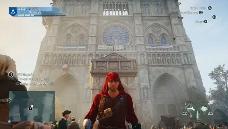 El videojuego permite ver cómo era la catedral de Notre Dame por dentro y por fuera. (Foto Prensa Libre: YouTube)