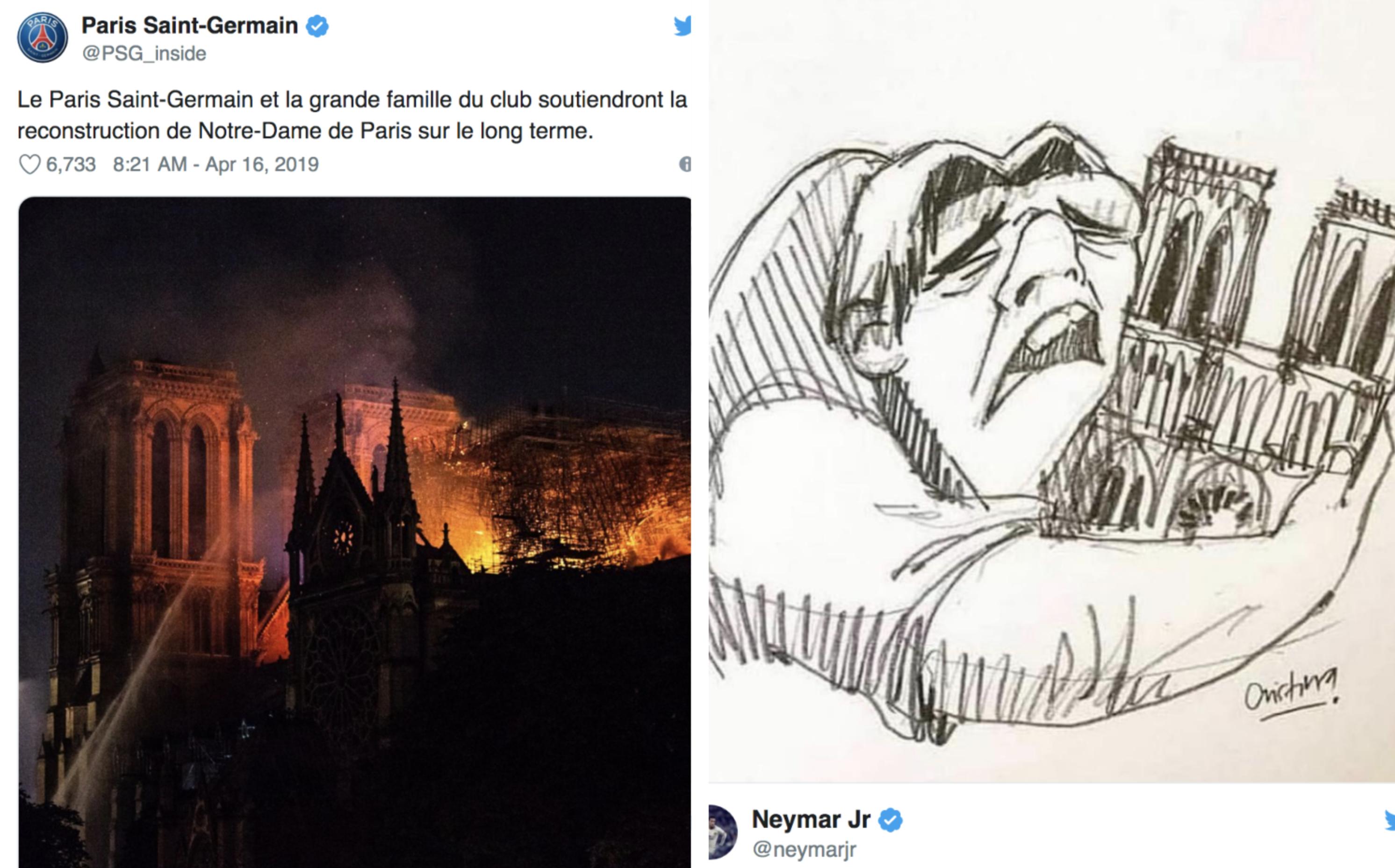 El París Saint Germain y Neymar también se unieron a los mensajes de consternación por el incendio de Notre Dame. (Foto Prensa Libre: Redes)