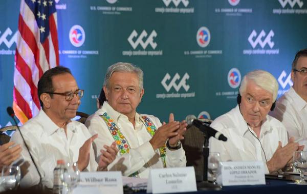 Al menos 11 funcionarios mexicanos y el presidente Andrés Manuel López Obrador expusieron los planes estratégicos ante directivos de las mayores empresas estadounidenses. (Foto Prensa Libre: pacozea.com)