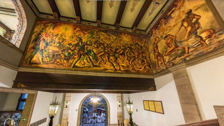 Los murales de Alfredo Gálvez Suárez se pueden ver a detalle en el recorrido virtual del Palacio Nacional. Foto: Prensa Libre