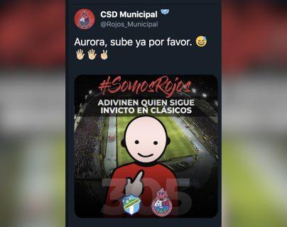 Este es el mensaje que Municipal publicó en su cuenta de twitter minutos después de vencer a Comunicaciones en el Clásico 305. (Foto Prensa Libre: Twitter Municipal)