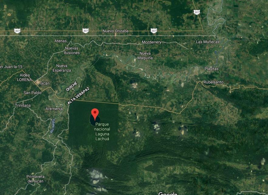 La retención se registra cerca del Parque Nacional Laguna Lachuá, Cobán, Alta Verapaz. (Foto Prensa Libre: GoogleMaps).