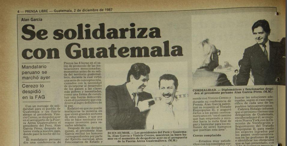 Publicación de Prensa Libre del 2 de diciembre de 1987, donde se destaca la visita de Alan García. (Foto Prensa Libre: Hemeroteca PL)
