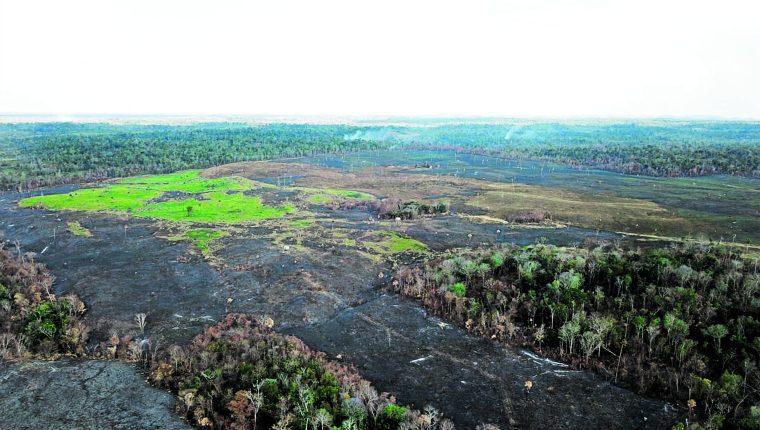 Área de Petén afectada por los incendios forestales.(Foto Prensa Libre: Hemeroteca PL)