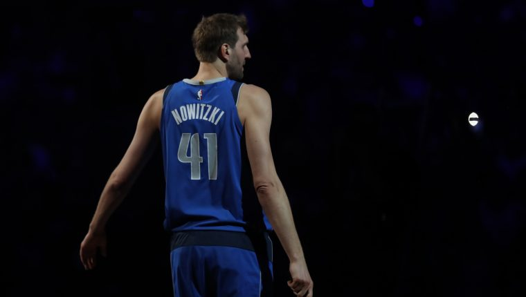 DALLAS, TEXAS - APRIL 09: Dirk Nowitzki #41 of the Dallas Mavericks reacts after announcing that he played his last home game at American Airlines Center on April 09, 2019 in Dallas, Texas. NOTE TO USER: User expressly acknowledges and agrees that, by downloading and or using this photograph, User is consenting to the terms and conditions of the Getty Images License Agreement.   Ronald Martinez/Getty Images/AFP == FOR NEWSPAPERS, INTERNET, TELCOS & TELEVISION USE ONLY ==