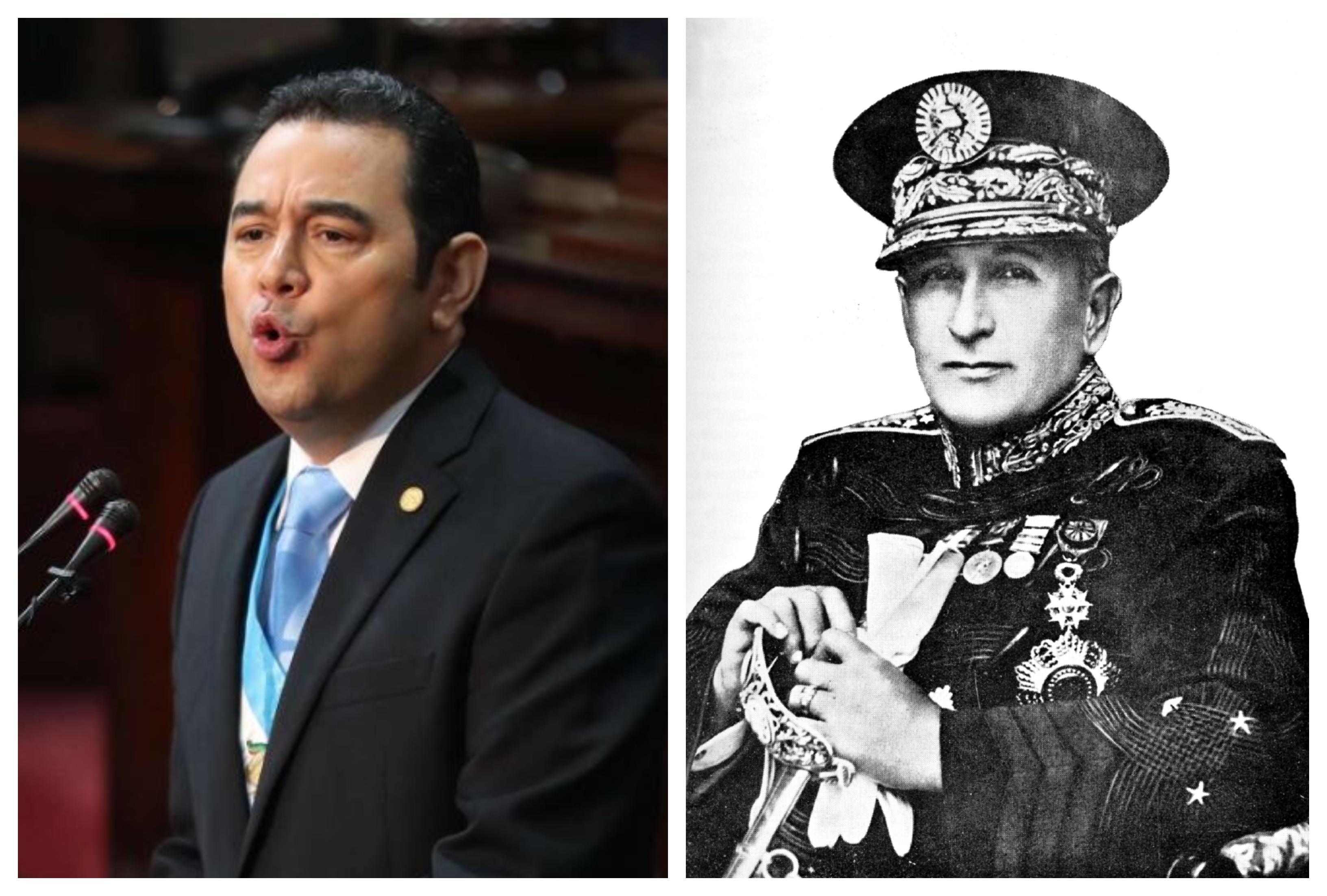 Presidente Jimmy Morales y el expresidente Jorge Ubico (1931-1944).