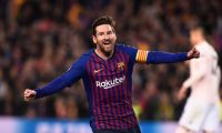 Barcelona's Argentinian forward Lionel Messi celebrates after scoring during the UEFA Champions League quarter-final second leg football match between Barcelona and Manchester United at the Camp Nou stadium in Barcelona on April 16, 2019. (Photo by Josep LAGO / AFP)