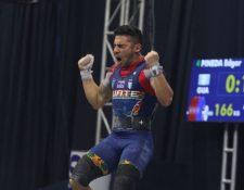 Édgar Pineda Zeta celebra al asegurar la plata en envión en el Panamericano. (Foto Cortesía COG).