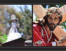 Las imágenes del Niño Jesús de La Demanda y de Jesús del Consuelo durante los cortejos del Sábado de Ramos del 2019. (Fotos Prensa Libre: Carlos Hernández)