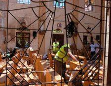 La iglesia de San Sebastián en la ciudad de Negombo fue una de las que sufrió uno de los atentados el pasado fin de semana. (foto Prensa Libre: EFE)