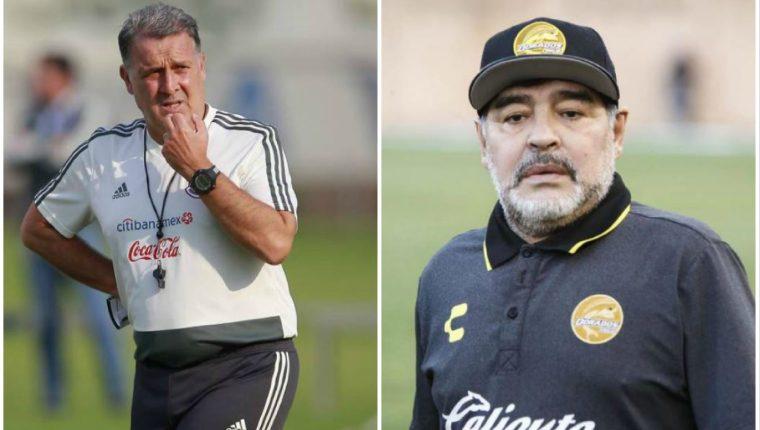 Maradona confía en el Tatta Martino para dirigir a la Selección de México. (Foto Redes).