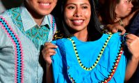 Mexican actress Yalitza Aparicio receives a typical costume of the Ngäbe Buglé natives during the International Film Festival of Panama (IFF Panama), in Panama City on April 7, 2019. (Photo by Luis ACOSTA / AFP)