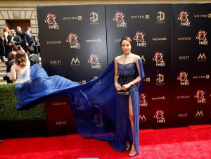 La actriz de Trinidad y Canadá Mishael Morgan llega a la 46 edición de los Daytime Emmy Awards en el Centro Cívico de Pasadena en Pasadena, California, EE. UU. Foto Prensa Libre: EFE