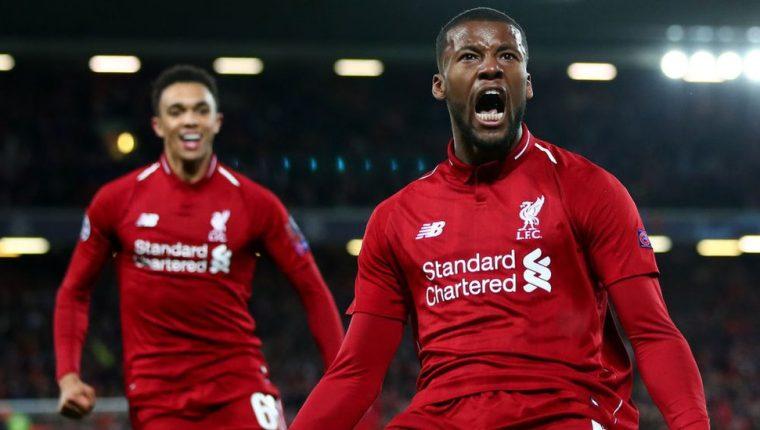 Divok Origi celebra uno de sus dos goles de este martes que le permitieron al Liverpool clasificarse a la final de Liga de Campeones.