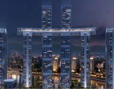 Con una iluminación que promete ser espectacular, el conjunto de edificios cambió el 'skyline' de la ciudad de Chongqing.