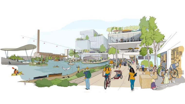 Boceto del proyecto de Sidewalk Labs para el área.