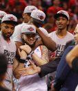 Así festejaron los Toronto Raptors el título de conferencia. (Foto Prensa Libre: AFP)