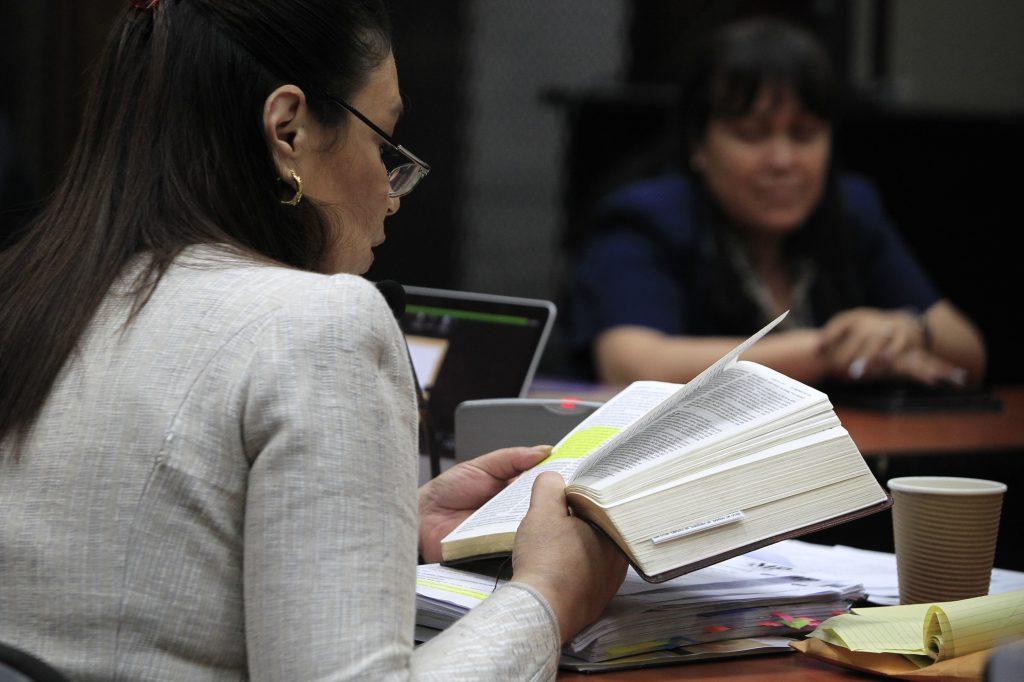 En octubre de 2017 Baldetti finalizó su declaración por el caso La Línea citando un versículo de la biblia. Foto Prensa Libre