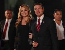 Angélica Rivera y Enrique Peña Nieto, en un acto oficial en Perú en abril de 2018 (Foto Prensa Libre: EFE).