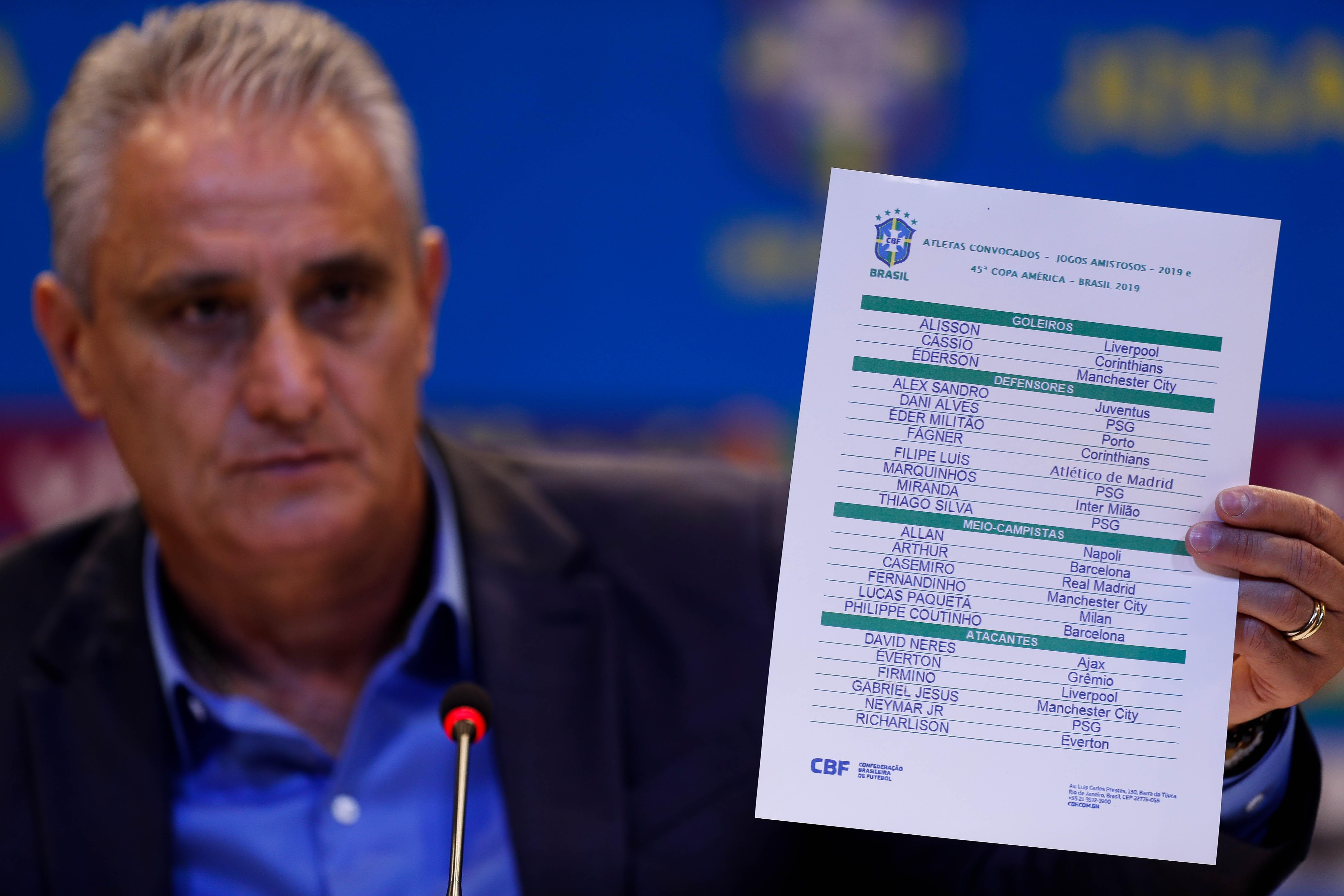 El seleccionador brasileño, Tite, anuncia hoy, viernes la lista de convocados para la Copa América 2019, que se disputará en junio y julio próximo en Brasil durante un evento en Río de Janeiro. (Foto Prensa Libre: EFE)