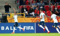 Tychy (Poland), 25/05/2019.- Patricio Perez (L) of Argentina celebrates after scoring a goal during the FIFA Under-20 World Cup 2019 group F match between Argentina and South Africa in Tychy, Poland, 25 May 2019. (Mundial de Fútbol, Polonia, Sudáfrica) EFE/EPA/Andrzej Grygiel POLAND OUT