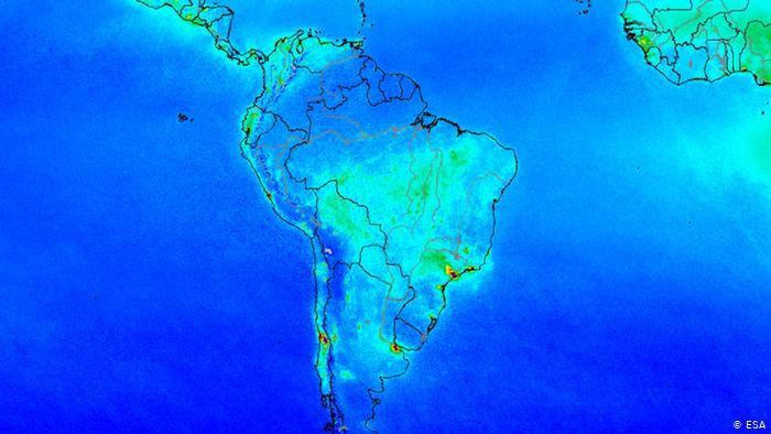 La contaminación del aire en América Latina, vista desde el espacio por el satélite Sentinel 5P de la ESA.