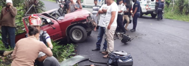 Lugar donde se registró el accidente en el límite entre El Rodeo y El Tumbador, San Marcos. (Foto Prensa Libre: Bomberos Municipales Departamentales).