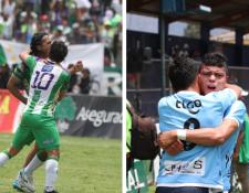 Antigua GFC goleó 4-1 a Cobán Imperial y Sanarate empató contra Xelajú MC, los primeros ganaron la clasificación y los segundos permanecen en la Liga Nacional. (Foto Prensa Libre: Carlos Vicente y Raúl Juárez)