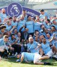Así festejaron los jugadores del Manchester City durante el partido. (Foto Prensa Libre: EFE)