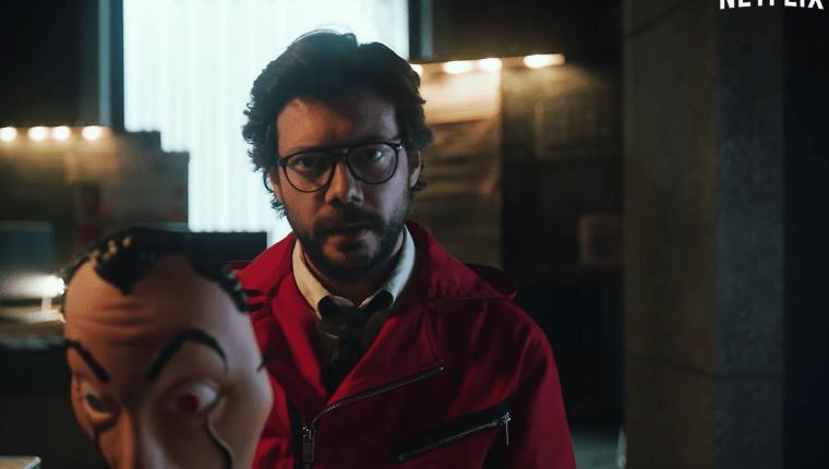 Álvaro Morte, quien interpreta a el 'profesor' en la casa de papel aparece en el nuevo avance de la nueva temporada de la serie. (Foto Prensa Libre: Captura de video del avance)