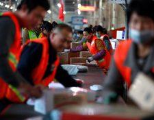 Empleados clasifican paquetes en una planta de reparto exprés durante el Día los Solteros en Pekín, China. (Foto Prensa Libre: EFE)