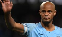 (FILES) In this file photo taken on May 6, 2019 Manchester City's Belgian defender Vincent Kompany takes part in a lap of appreciation after the final whistle of the English Premier League football match between Manchester City and Leicester City at the Etihad Stadium in Manchester, north west England. - Club captain Vincent Kompany announced Sunday, May 19 that he is to leave Manchester City after 11 trophy-laden years. (Photo by Paul ELLIS / AFP) / RESTRICTED TO EDITORIAL USE. No use with unauthorized audio, video, data, fixture lists, club/league logos or 'live' services. Online in-match use limited to 120 images. An additional 40 images may be used in extra time. No video emulation. Social media in-match use limited to 120 images. An additional 40 images may be used in extra time. No use in betting publications, games or single club/league/player publications. /