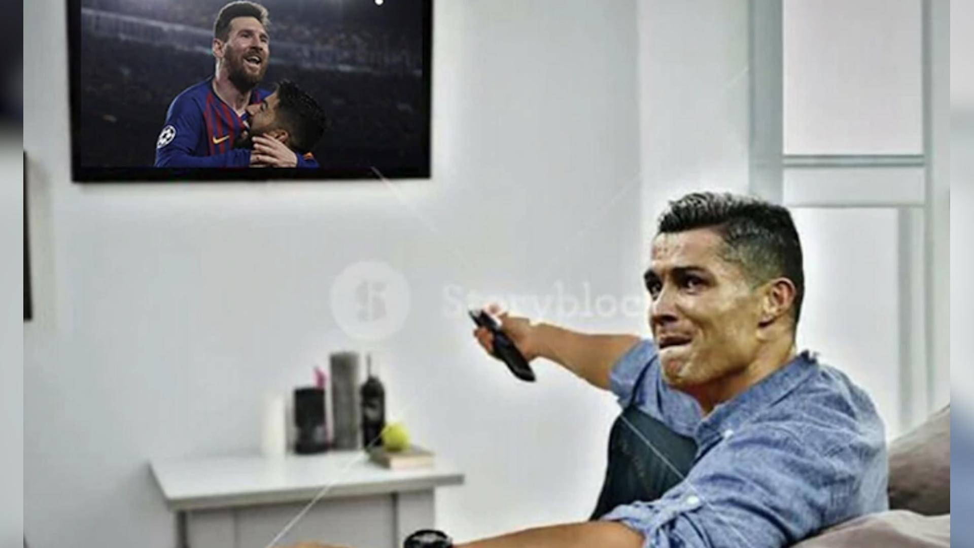 Uno de los memes hace alusión a que mientras Lionel Messi celebra, Cristiano Ronaldo ve el partido por televisión. (Foto Prensa Libre: Redes)