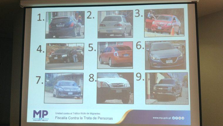 Algunos de los vehículos que usaba la banda para trasladar a migrantes caribeños, sudamericanos y centroamericanos. (Foto Prensa Libre: MP)