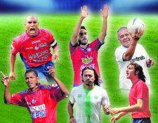 Juan Carlos Plata, Carlos Kamiani, Óscar Sánchez, Mario Acevedo, Agustín Herrera y José Mitrovich, son parte de la historia del futbol nacional. (Foto Prensa Libre