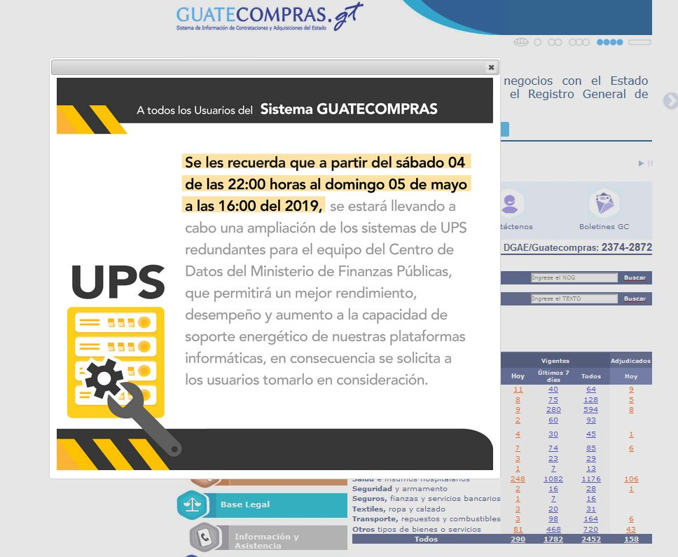 Aviso en la página de Guatecompras, sobre el funcionamiento irregular. (Foto Prensa Libre: Internet)