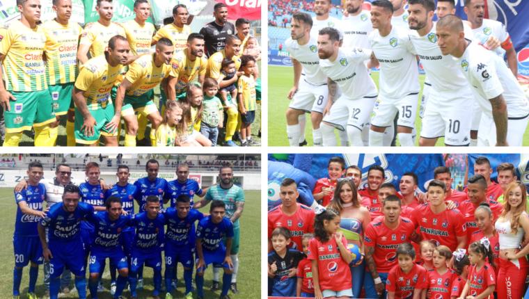 Comunicaciones, Municipal, Malacateco y Guastatoya buscarán llegar a las semifinales del Clausura 2019 (Foto Prensa Libre: elaboración propia)