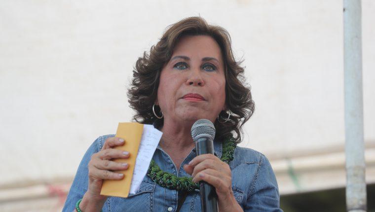 Sandra Torres, candidata presidencial de la UNE, durante un mitin en Nebaj, Quiché. (Foto Prensa Libre: Hemeroteca PL)