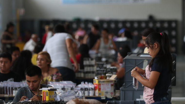 En el Centro de operaciones del Tribunal Supremo Electoral (TSE), trabajadores realizan  preparativos que se utilizaran en los centros de votación. (Foto Prensa Libre. Esbin García)