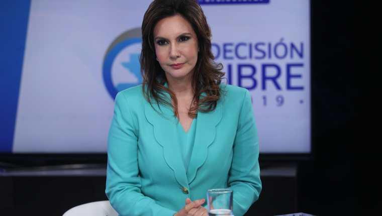 Zury Ríos Sosa, candidata presidencial del partido Valor, durante una entrevista de Sin Filtro Electoral, de Guatevisión, el 7 de mayo. (Foto Prensa Libre: Hemeroteca PL)