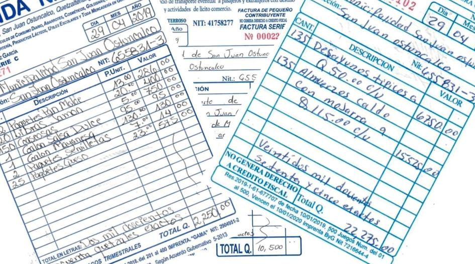 Estas son las facturas de los gastos del viaje que los empleados municipales de San Juan Ostuncalco efectuaron a Monterrico, Santa Rosa. (Foto Prensa Libre: )