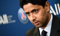 (FILES) In this file photo taken on February 22, 2019, Paris Saint-Germain's Qatari president Nasser Al-Khelaifi addresses a press conference in Paris. - Al-Khelaifi was charged with corruption over Qatar world athletics champs, a judiciary source said on May 23, 2019. (Photo by FRANCK FIFE / AFP)