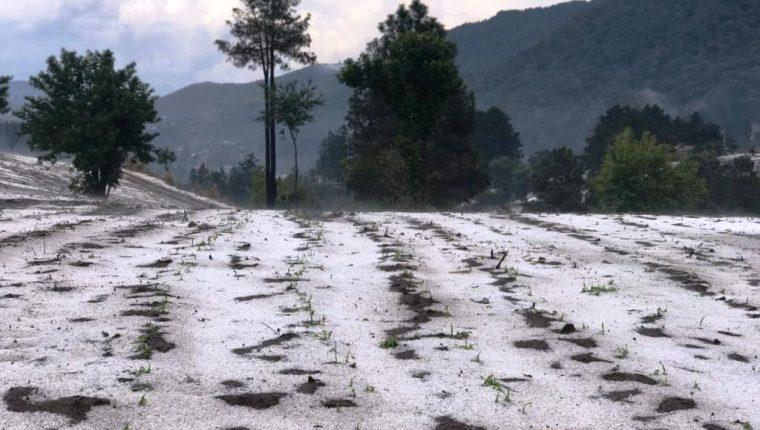 Granizo que cayó en Sija cubrió los campos de blanco y ofreció un espectáculo único. (Foto Prensa Libre: Yesenia Rodas)