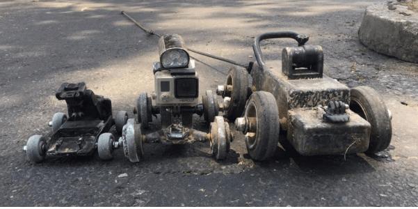 Robots utilizados para monitorear los drenajes en la capital.(Foto Prensa Libre: cortesía Empagua)